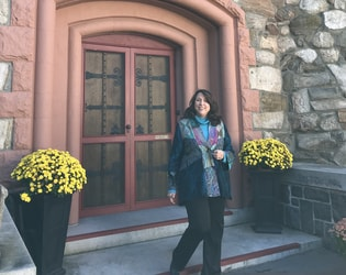 Barbara at castle door