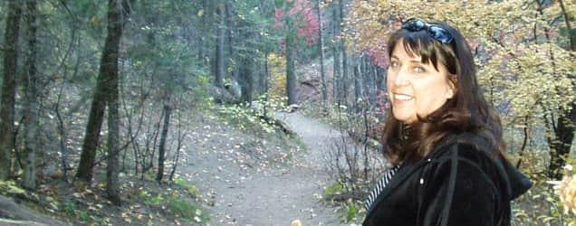 Barbara hikes in Oak Creek Canyon